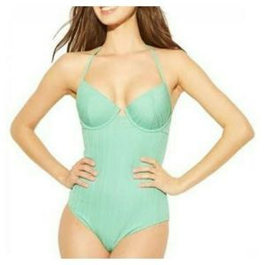 Shade & Shore Womens One Piece Swimsuit Green34B